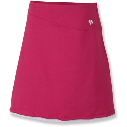 After a long day on the trail, find comfort in the Tonga skirt from Mountain Hardwear. Soft cotton/elastane blend fabric moves with you. Wide, low-profile waistband for comfort. Semi-fitted. Closeout. - $23.83