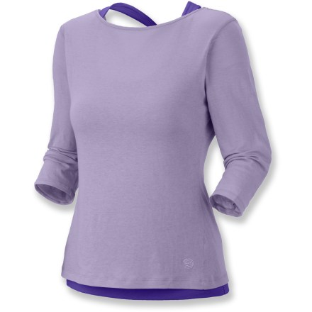 Fitness The Mountain Hardwear Navassa Elbow Sleeve top features a moisture-wicking, quick-drying tank inside a sheer outer shirt. It looks great whether you're working out or hanging out. Outer shirt is made of a rich cotton fabric for the finest in natural-fiber breathability and comfort; inner polyester tank top wicks away moisture and dries quickly. The Mountain Hardwear Navassa has an integrated shelf bra for support; spaghetti straps thread through a loop at the center back. Closeout. - $17.73