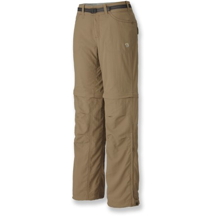 Camp and Hike The Mountain Hardwear Corsica convertible pants are ready for backpacking adventures in a wide range of temperatures. Nylon fabric is rugged yet soft; Durable Water Repellent finish causes water to bead up and roll off. Fabric provides UPF 50+ sun protection, shielding skin from harmful ultraviolet rays. Micro-Chamois(TM) polyester-lined waist is soft and comfortable next to skin. Hidden zippers allow the lower pant legs to be removed; zippers at the cuffs let the pant legs slip off easily over footwear. Inseam gusset allows excellent range of motion; reinforced seat helps ensure long-lasting wear. Reinforced, articulated knees offer full range of motion and enhanced abrasion resistance. Front hand pockets and rear flap pockets stow trail essentials; zippered side pocket secures small valuables. Drawcords at ankles cinch cuffs against boots to keep trail grit out. Closeout. - $76.93