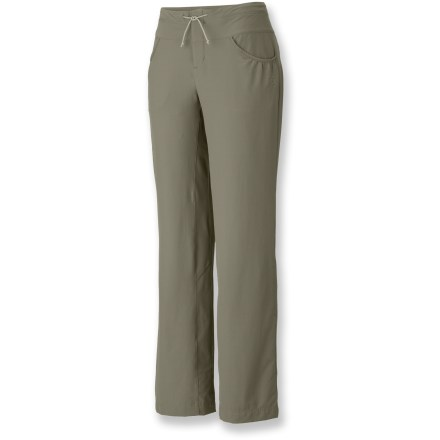 Camp and Hike The Mountain Hardwear Petralla pants are as tough as nails on rocks and crags. Durable nylon fabric has tons of stretch for freedom of movement. Fabric provides UPF 50+ sun protection, shielding skin from harmful ultraviolet rays. Low-profile waistband features a drawstring for quick adjustments. Inseam gusset enhances mobility. Petralla pants have hand pockets and 2 rear pockets. Closeout. - $46.93