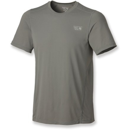 Fitness The Mountain Hardwear Wicked Lite T-shirt won't weigh you down. Ultralight polyester mesh fabric dries quickly and is soft and breathable. Flatlock seams offer flexibility and comfort. Athletic cut fits close to the body. Closeout. - $22.93