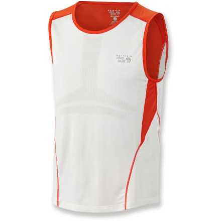 Fitness The Mountain Hardwear Way2Cool tank top is built for high-octane pursuits on hot days. Polyester knit fabric features mesh zones for superior ventilation; fabric wicks moisture and dries quickly. Reflective trim. Closeout. - $14.73