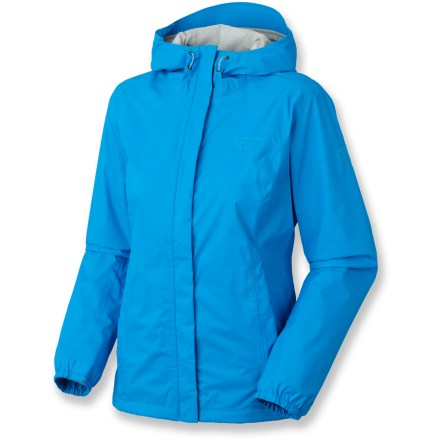 The Mountain Hardwear Runoff rain jacket is built for deluge-filled adventures. Don't let a little downpour stop you from getting outside. The Runoff is made of nylon with a Dry.Q Core waterproof, breathable 2.5-layer laminate for protection from the elements. Hood offers easy adjustments for a custom fit. Full-length front zipper features a storm flap to help keep the wind out. Elastic cuffs and drawcord hem help seal out the cold. Zippered handwarmer pockets. Closeout. - $62.73
