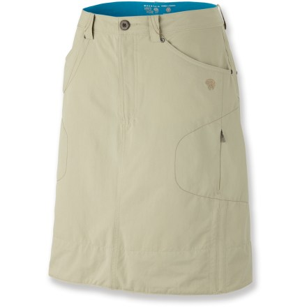 The Mountain Hardwear La Strada skirt is the perfect travel companion. It's easy to pack, lightweight and doesn't take up much room. Nylon twill fabric features durable stretch for easy movement; water-repellent finish sheds moisture. Waistband and hem lining features Dri-release(R) fabric to wick moisture away from skin. With a UPF 50+ rating, fabric provides excellent protection against harmful ultraviolet rays. Fixed waistband features a zip fly, snap closure and belt loops. Side-seam cinch drawcords let you adjust the hem for easy movement. 2 open hand pockets, 2 zippered thigh pockets and 2 rear patch pockets. The Mountain Hardwear La Strada skirt is semifitted to enhance performance. Closeout. - $42.73