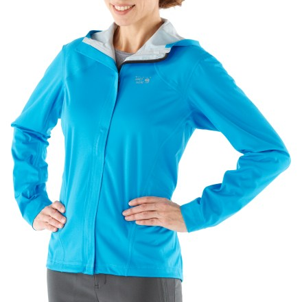The lightweight Mountain Hardwear Effusion hooded jacket for women offers protection from chilling wind and rain to help keep you comfortable no matter your activity. Light and stretchy polyester is used across most of the jacket's front to deliver excellent windproof performance and high breathability. Waterproof and breathable 2.5-layer laminate offers protection from the elements. Seams are sealed for complete water protection. Reflective detailing on the front and back increases visibility. Flatlock seams on the Mountain Hardwear Effusion hooded jacket help ensure chafe-free comfort that'll keep you going for miles. Rear zip pocket for storage of a few essentials. Closeout. - $59.73