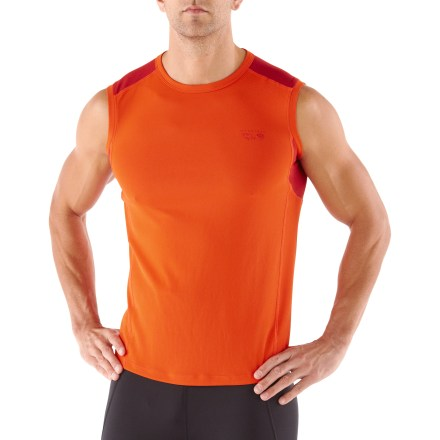 Fitness The Mountain Hardwear Elmoro tank top is a great choice for hard-charging workouts or hikes. Quick-drying fabric wicks moisture away from your skin; antimicrobial finish fights odors. With a UPF 25 rating, fabric provides protection against harmful ultraviolet rays. Flatlock seams maximize motion and minimize abrasion. Reflective highlights and luminescent print increase visibility in low light. Closeout. - $16.73