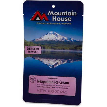 Camp and Hike Enjoy a delicious chocolate, vanilla, and strawberry treat anytime and anywhere; no refrigeration required! This no-drip ice cream fix is the perfect solution for dessert on the go. - $3.00