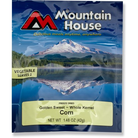 Camp and Hike This Mountain House Golden Sweet whole kernel corn is a quick addition to any camp meal. Stand-up pouch creates an easy way to cook and eat your meal; made from high-barrier foil, the pouch keeps your meal hot. Just mix contents with boiling water in the pouch provided-let stand, and serve. Nutrition facts displayed here and on packaging may differ; information on packaging reflects actual contents. *Discount will be applied when you check out; offer not valid for sale-price items ending in $._3 or $._9. - $3.50