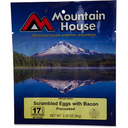 Camp and Hike This is way easier than packing in eggs on your next backpacking trip. Add hot water, wait a few minutes and you'll have tasty scrambled eggs with bacon you can eat right out of the pouch. - $6.00