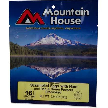 Camp and Hike What's better than a hearty breakfast of real scrambled eggs, ham and red / green peppers? One that's a cinch to cook! Add hot water, wait a few minutes and enjoy the perfect backpacking breakfast. - $6.00