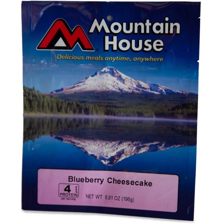 Camp and Hike Creamy cheesecake with graham cracker crumbs and real blueberry sauce. Stand-up pouch creates an easy way to cook and eat your meal; made from high-barrier foil, the pouch keeps your meal hot. Easy to prepare--add cold water to cheesecake mix, wait 10 minutes; sprinkle with graham cracker crumbs; add hot water to blueberry sauce and serve. Nutrition facts displayed here and on packaging may differ; information on packaging reflects actual contents. *Discount will be applied when you check out. Offer not valid for sale-price items ending in $._3 or $._9. - $7.25