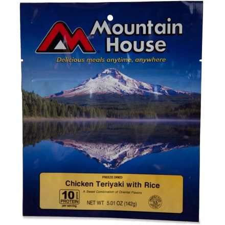 Camp and Hike This Chicken Teriyaki is done right with bamboo shoots and real chicken in the right teriyaki sauce. Look no further for a great-tasting, quick-prep chicken teriyaki for your next trip outdoors. - $9.00