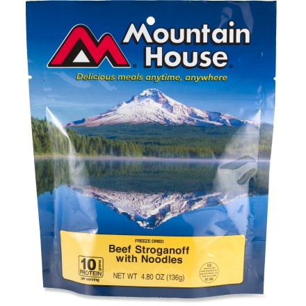 Camp and Hike Mountain House Beef Stroganoff is hands-down one of the most popular meals they make. With real pieces of tender beef and savory mushrooms and onions in a creamy sauce, one bite will make you believe. - $8.50