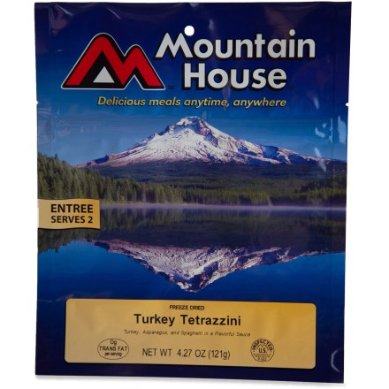 Camp and Hike Even if you've never had Turkey Tetrazzini, you need to try this one. It's made with dices of real turkey meat, mushrooms, asparagus and spaghetti noodles in an awesome savory sauce. - $8.00