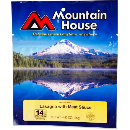 Camp and Hike Made with pasta, cheese and Italian-style meat sauce, this lasagna tastes delicious out in the wilderness. - $8.50