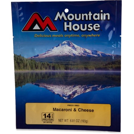 Camp and Hike Mountain House makes their Mac and Cheese to satisfy the whole family, especially the grownups. It's made with big, hearty macaroni noodles and a smooth, rich cheese sauce. - $8.00