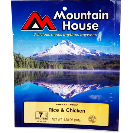 Camp and Hike With seasoned rice and chicken in a savory sauce accented with pimentos, this meal is perfect for those times you're on the trail, snowed in or when the power is out. - $7.50