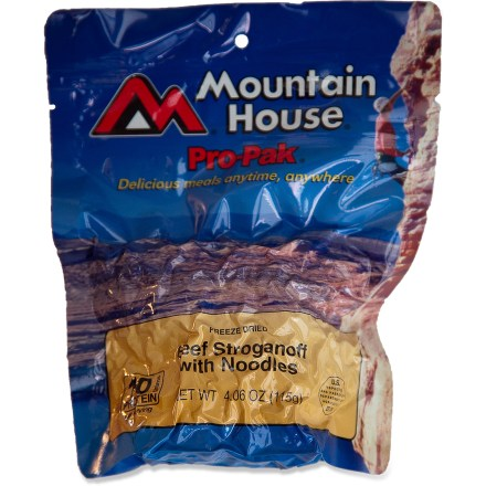 Camp and Hike One of the most popular freeze-dried meals ever, the Mountain House Beef Stroganoff Pro-Pak is made with real pieces of tender beef, savory mushrooms and onions in a creamy sauce. - $7.50