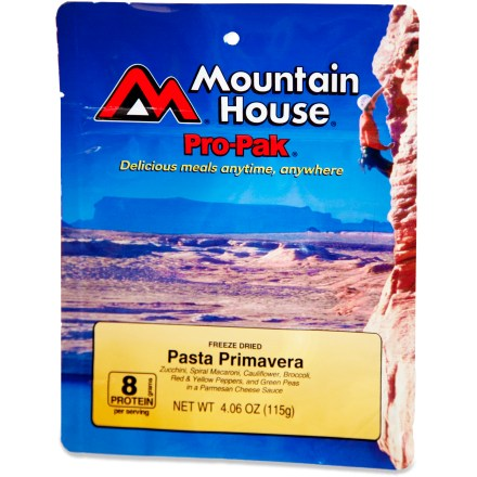 Camp and Hike Enjoy instant, lacto-vegetarian pasta and vegetables in a creamy sauce on you next backpacking trip with the Mountain House Pasta Primavera Pro-Pak. Compact vacuum pouch leaves more room in your pack and won't expand at high elevations. Just mix contents with boiling water in the pouch provided, let stand for a few minutes, and then serve; resealable foil pouch helps retain warmth. Quick and easy entree for camping and backpacking; single serving. Nutrition facts displayed here and on packaging may differ; information on packaging reflects actual contents. *Offer not valid for sale-price items ending in $._3 or $._9. - $7.00