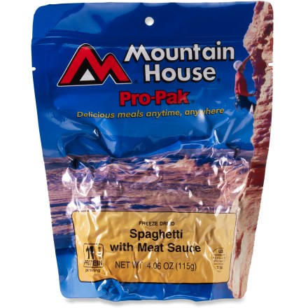 Camp and Hike Enjoy this classic dish wherever you roam. Made with tender spaghetti noodles and chunks of real beef in a rich marinara sauce, this light and compact Pro-Pak won't expand at altitude. - $7.50