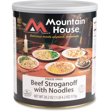 Camp and Hike Enjoy tender beef chunks with noodles and mushrooms in a rich sour-cream sauce with the Mountain House Beef Stroganoff with Noodles freeze-dried meal. Easy to prepare-just add hot water. Includes ten 1-cup servings. Can of Mountain House Beef Stroganoff with Noodles has a 25-year shelf life. *Discount will be applied when you check out; offer not valid for sale-price items ending in $._3 or $._. - $20.99