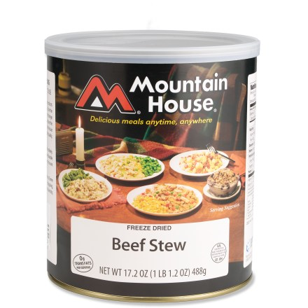 Camp and Hike Enjoy potatoes, vegetables and beef in a rich sauce with the Mountain House Beef Stew freeze-dried meal. Easy to prepare-just add hot water. Can contains ten 1-cup servings. Mountain House Beef Stew has a 25-year shelf life. *Discount will be applied when you check out; offer not valid for sale-price items ending in $._3 or $._9. - $27.93