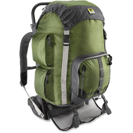 Camp and Hike The Mountainsmith Youth Scout external frame pack provides a comfortable backpacking experience for kids. Air-mesh back panel keeps kids cool and comfortable; dual-density foam in hipbelt and shoulder straps provides cushioned comfort for the long haul. 2 load adjusters help balance the load on their back for all-day trekking comfort. Durable nylon fabric with ballistic reinforcements stands up to wear and tear; sturdy aluminum frame supports heavy loads. Top flap with zippered pocket covers the collared storm shield with drawcord closure. Zippered side pockets with pass-through sleeves and a large front pocket keep essentials handy. Lash extra gear to outside of pack with daisy chain attachment points. Sleeping bag sling with quick-release hardware keeps sleeping bag under the pack body, providing some protection from the elements. Mountainsmith Youth Scout pack has a safety whistle built into the chest strap buckle. Closeout. - $62.83