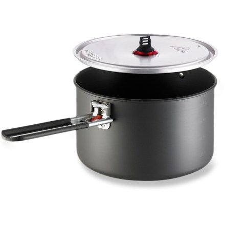 Camp and Hike The MSR Alpinist 2 pot offers the light weight and strength of hard-anodized aluminum with a 2.4-liter capacity for melting snow or boiling water. Hard-anodized aluminum is strong and light, and it spreads heat evenly for good cooking performance. Brushed aluminum lid features an integrated strainer to eliminate the hassle of draining water from noodles or steamed vegetables. Talon(TM) pot handle attaches to and removes from the pot's exterior bracket, ensuring you don't scratch the inner surface. MSR Alpinist 2 pot can store up to 3 MSR insulated mugs and 2 MSR DeepDish(TM) plates (not included), or any MSR stove (sold separately). - $59.95