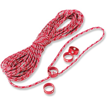 Camp and Hike The Reflective Utility Cord kit from MSR is ideal for hanging food and guying tarps. Kit includes 4 CamRing(TM) cord tensioners and 49.2 ft. of highly reflective 3 mm nylon cord. - $22.95