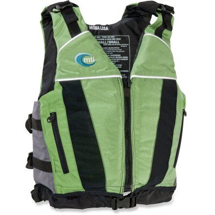 Kayak and Canoe The MTI Mona Lisa is a comfortable, all-purpose PFD for women paddlers who aren't willing to compromise on style. Adjustable shoulder straps offer a versatile fit; either tighten up the shoulder area for a snug fit or loosen for more chest room. Shoulder adjustments are covered to add protection and provide a smooth, finished look to the vest. Dual strap adjustments create a snug fit on each side; adjustable waist strap eases dressing with its quick-release buckle. 2 front cargo pockets with mesh drainage securely store essentials. Reflective tape enhances visibility in low light. Durable Cordura(R) nylon shell and closed-cell foam flotation provide lasting service. Butterfly logo design on back of PFD adds a touch of style. - $48.83