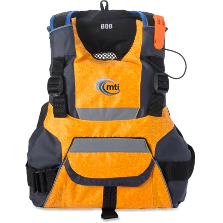 Kayak and Canoe The MTI BOB PFD offers grown-up features in a kid-size fit. Made from abrasion-resistant nylon for lasting service; soft foam flotation provides tireless buoyancy. With fully adjustable shoulder, waist and side straps, fit can easily be adjusted to match a growing kid. Large cargo pocket can hold essentials such as sunscreen, snacks and a whistle; fleece-lined pouch behind pocket warms hands. Reflective tape accents on front, back and shoulders of the MTI BOB PFD enhance visibility in dim light. Over-the-head entry ensures your kid will not have the PFD unzipped if it's too hot; mesh porthole at rear of PFD adds ventilation. - $34.83