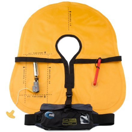 Kayak and Canoe The MTI Fluid Belt Pack Inflatable PFD offers a low-profile fit and on-demand flotation for stand up paddleboarders. The MTI Fluid inflates instantly with the simple tug of a cord, providing 29 lbs. of flotation should you need it. Belt pack fits around your waist, and inflated PFD is attached by a tether so it won't float away. At-a-glance indicator window lets you know whether PFD is ready to inflate. Includes an MTI RK5 CO2 cylinder; additional RK5 CO2 Re-Arming Kits sold separately. Fits waist sizes 30 - 52 in. - $125.00