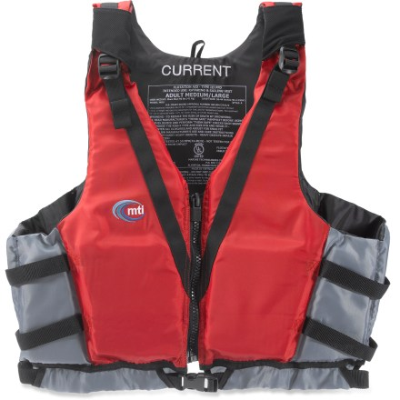 Kayak and Canoe The MTI Current PFD is a great choice for relaxed paddling trips. Enjoy floating along in this PFD. 300-denier polyester shell with closed-cell foam flotation delivers long-lasting service and high performance. Adjustable straps at shoulders and sides customize the fit and keep the MTI Current PFD in place. Special buy. - $25.83