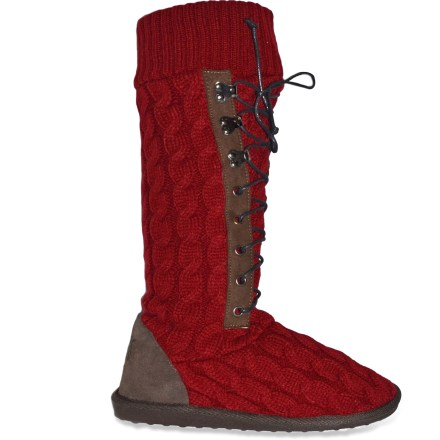 The MUK LUKS Lace-Up boots feature cable-knit style for fall forays and winter wanderings. Cozy, cable-knit acrylic keeps you warm without being itchy or uncomfortable. Foam footbeds cushion feet. Thermoplastic rubber outsoles provide light traction indoors and out. Closeout. - $16.73