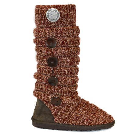 The Marled Texture Stripe boots from MUK LUKS surround your calves in cable-knit comfort, with side button detail for bonus flair. Cozy, cable-knit acrylic keeps you warm without being itchy or uncomfortable. Foam footbeds cushion feet. Thermoplastic rubber outsoles provide light traction indoors and outdoors. Closeout. - $26.83