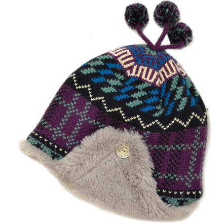 This girls' beanie from MUK LUKS features cozy, faux-fur-lined earflaps to keep her head toasty, and decorative pom-poms on top for fun style. Soft acrylic knit offers excellent warmth; it also breathes well when you're active and dries quickly when damp. Plush faux-fur lining feels soft against skin. Closeout. - $9.83