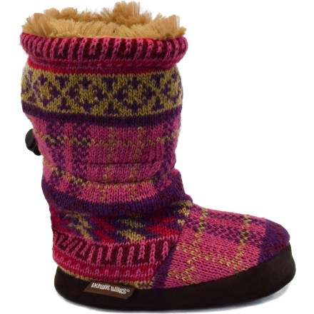 Entertainment Bound to be a hit with your little fashionista, the MUK LUKS Toggle boots feature bright colors showcased on beautifully knit yarns. Cozy, cable-knit acrylic keeps feet warm without being itchy or uncomfortable. Faux-fur linings feel soft against skin. Foam footbeds cushion feet. Thermoplastic rubber outsoles provide light traction around the house. Closeout. - $6.73