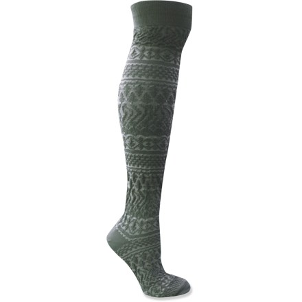 MUK LUKS boot-height knee socks are perfect under skirts, or just for an extra dose of coziness inside your boots. Cozy, synthetic fabric blend keeps you warm without being itchy or uncomfortable. Closeout. - $9.93
