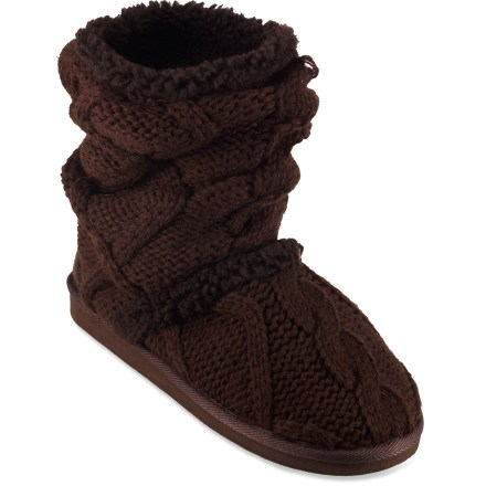 The Mukluks Scrunched Sherpa booties offer exceptional warmth and comfort, whether hanging around the house or adventuring outside. Soft acrylic uppers provide the warmth of wool without the itch, and dry quickly. Soft polyester linings move moisture away from feet and dry quickly. Foam midsoles cushion each step. Thermoplastic rubber outsoles are perfect for indoor and outdoor use. Closeout. - $24.93