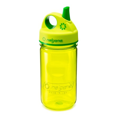 Camp and Hike The Nalgene Everyday(TM) Grip-N-Gulp bottle is sized especially for small hands so your little ones can drink from their very own bottle. Made of Eastman Tritan(TM) copolyester, the bottle is completely BPA-free and is dishwasher safe. Tritan(TM) copolyester provides excellent impact resistance and is suitable for both warm and cold beverages. Durable, one-piece Nalgene Sipper valve(TM) limits spills and is easily removed for cleaning. Rubberized lid and smooth plastic mouthpiece make drinking comfortable; lid loop can be clipped to a backpack, diaper bag or stroller. Metric and English measurement markers let you accurately mix drinks. Side indents are designed for little hands. Bottle won't retain tastes and odors. Bottle is compatible with Nalgene OTG, ATB and standard loop-top closures. All components are dishwasher safe (top rack only); remove Nalgene Sipper valve before each cleaning and replace before each use; do not microwave. Please note: Not recommended for use in oven or microwave. - $8.95