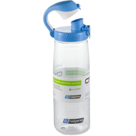 Camp and Hike On-The-Fly (OTF) is where this Nalgene water bottle really shines! Leakproof flip-cap can be opened and closed with 1 hand and makes for easy drinking with no splashes. - $11.95