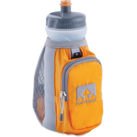 Camp and Hike The Nathan Thermal Quickdraw handheld water bottle carrier keeps your hot or cold fluids right at your fingertips while you're out for a run. Thermal insulation keeps your beverage warm or cold while you're running. Low-profile zippered pocket with key clip is sized to hold your smartphone and a couple other small essentials, such as a gym card and cash. Moisture-wicking hand strap adjusts to fit any hand size. Thermal Quickdraw includes a 22 fl. oz. bottle with sport top. Reflective hits increase visibility in low light. BPA-free bottle is dishwasher safe (top rack). The Nathan Thermal Quickdraw handheld water bottle includes a waterproof identification/medical emergency card. - $17.93
