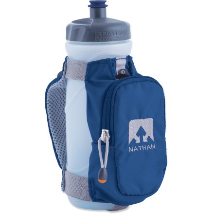 Camp and Hike The Nathan Quickdraw Plus handheld water bottle carrier keeps liquids and a few essentials right at your fingertips while you run. Low-profile zippered pocket with key clip is sized to hold your smartphone and a couple other small essentials, such as a gym card and cash. Quickdraw Plus includes a 22 fl. oz. bottle with sport top. Moisture-wicking air-mesh hand strap allows air to circulate around hand; strap adjusts to fit any hand size. 3M Scotchlite(TM) reflective hits increase visibility in low light. BPA-free bottle is dishwasher safe (top rack). The Nathan Quickdraw Plus handheld water bottle includes a waterproof identification/medical emergency card. - $14.93