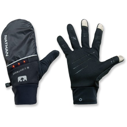 Fitness Don't let inclement weather get in the way of your training. The Nathan TransWarmer(TM) Convertible mittens with LEDs keep your hands warm and improve your visibility at night. Low-profile LEDs on the mitten backs can be seen from up to 2,400 ft. away to make you more visible to cyclists and motorists; LEDs operate in constant on and 2 blinking modes. Reflective detailing on the backs of the mittens increases your visibility in low light. 2 CR2016 lithium batteries (included) provide more than 30 hrs. of operation. Tips of the gloves' index fingers, middle fingers and thumbs have a special fabric that lets you operate a touch-screen phone or music player without taking the gloves off. Flip the mitten covers over the fingers of the gloves for extra warmth on frigid days. Silicone hits on the palms and fingers give you a good grip of your smartphone. Brushed fabric on the backs of the thumbs provide a gentle place to wipe your cold nose. Remove the entire LightWave LED system from the Nathan TransWarmer Convertible mittens before washing; machine wash in cold water; tumble dry on low. - $16.83