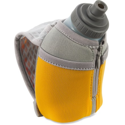 Camp and Hike The Nathan Thermal Quickshot Handheld hydration keeps your fluids cold during long runs. Thermal insulation keeps your beverage warm or cold while you're running. Thermal Quickdraw includes a 10 fl. oz. flask with Race Cap. Race Cap features a high-flow, 1-way valve that opens and closes easily. Moisture-wicking hand strap quickly adjusts to fit any hand size. 2 small stash pockets and an ID pocket keep small items secure. Reflective hits increase visibility in low light. BPA-free bottle is dishwasher safe (top rack). - $15.93