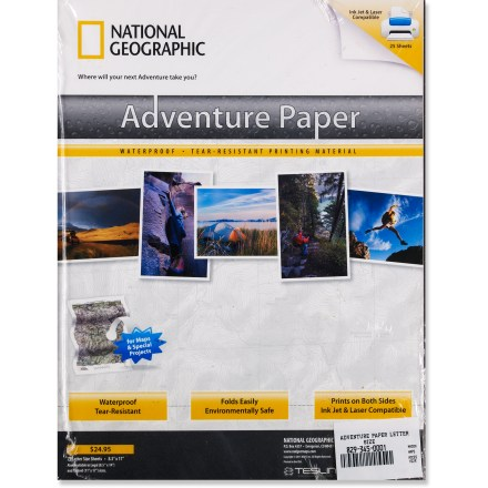 Camp and Hike Letter-size National Geographic Adventure Paper lets you print your own tear-resistant, waterproof maps. - $11.83