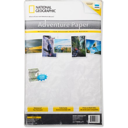 Camp and Hike Legal-size National Geographic Adventure Paper lets you print your own tear-resistant, waterproof maps. - $5.83
