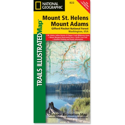 Camp and Hike This colorful Trails Illustrated Mount St. Helens and Mount Adams trail map from National Geographic offers detailed coverage of 2 of Washington's volcanoes and the Gifford Pinchot National Forest. - $11.95