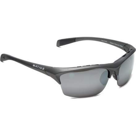 Entertainment The Native Eyewear Endura Reflex polarized interchangeable sunglasses feature an open edge design for wide field of vision. Snap-Back(TM) Interchange lens system lets you switch lenses to accommodate a variety of light conditions and activities. Frames include 1 set of polarized Silver Reflex (gray tinted) lenses and 1 set of SportFlex(TM) lenses, for a total of 2 sets of lenses. Polarized Reflex(TM) lenses provide superior glare reduction and enhanced styling. Polarized Silver Reflex lenses work well for all light conditions, especially extremely bright sunlight because the Reflex coating blocks more light. Additional SportFlex orange-yellow lenses have a blue mirror coating suitable for cloudy or overcast days, and dusk and dawn. Polarized Crystal Carbonate(R) (P.C.C.) lenses have the strongest hard coating available to protect against scratching. P.C.C. lenses pass the rigorous ANSI Z80.3 tests for optical clarity and impact resistance and block 100% of harmful UVA and UVB light. Tough thermoplastic frames endure extreme highs and lows in temperature. Venting system incorporated into the frames enhances airflow and virtually eliminates fog and condensation. Self-adjusting nose pads and temple boots create a non-slip grip that keeps sunglasses in place, ensuring a soft feel and personalized fit. Mastoid Temple Grip design ensures the temple ends hug behind your ears to securely keep sunglasses in place. Anti-Ocular Intrusion System(R), a 4-point configuration, helps prevent lenses from shooting into your face in the event of high-velocity impact. Cam-action spring hinges quickly lock temples in position. The Native Endura Reflex polarized sunglasses are sized to best fit small-medium profiles. Optic Gear Kit Includes a semi-hard zip case and a soft protective pouch that doubles as a cleaning cloth. - $139.00