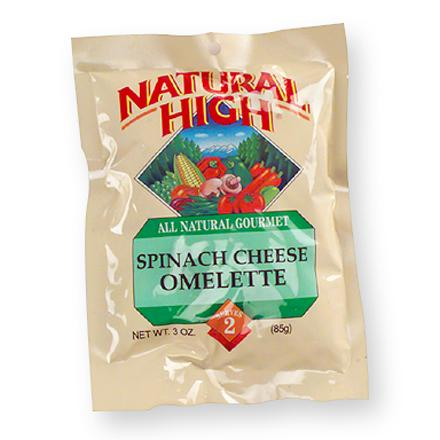 Camp and Hike This tasty omelette features spinach and aged natural cheddar cheese. Freeze-dried and easy to prepare--simply blend with cold water and scramble in a lightly greased pan. All natural--no artificial ingredients or preservatives. Nutrition facts displayed here and on packaging may differ; information on packaging reflects actual contents. *Discount will be applied when you check out. Offer not valid for sale-price items ending in $._3 or $._9. - $5.00